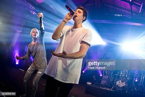 Singer Jack Johnson and Jack Gilinsky of Jack Jack perform live during a concert at the Postbahnhof on April 23 2016 in Berlin Germany