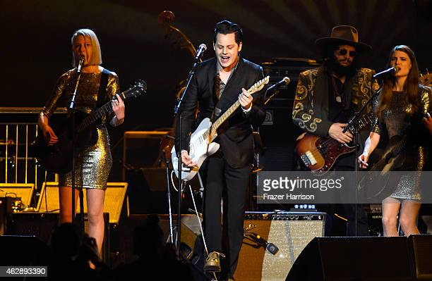 Singer Jack White performs onstage at the 25th anniversary MusiCares 2015 Person Of The Year Gala honoring Bob Dylan at the Los Angeles Convention...