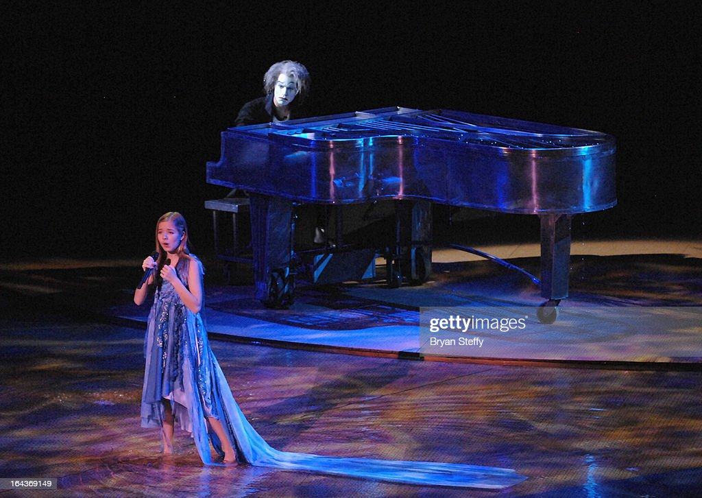 Singer <a gi-track='captionPersonalityLinkClicked' href=/galleries/search?phrase=Jackie+Evancho&family=editorial&specificpeople=7242022 ng-click='$event.stopPropagation()'>Jackie Evancho</a> rehearses for Cirque du Soleil's 'One Night for ONE DROP' show at the Bellagio on March 22, 2013 in Las Vegas, Nevada.