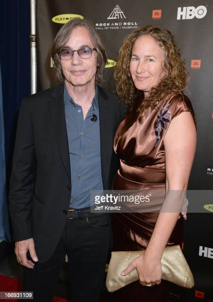 Singer Jackson Browne and artist Dianna Cohe arrive at the 28th Annual Rock and Roll Hall of Fame Induction Ceremony at Nokia Theatre LA Live on...