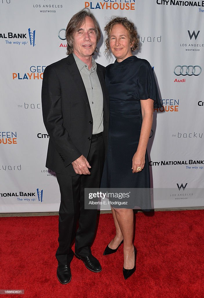Singer Jackson Browne and Dianna Cohen arrive to The Geffen Playhouse's Annual 'Backstage at the Geffen' Gala at Geffen Playhouse on May 13, 2013 in Los Angeles, California.