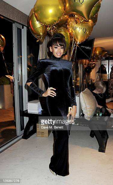 Singer Jade Ewen attends an aftershow party following the PPQ Spring/Summer 2012 catwalk show during London Fashion Week at The Mayfair Hotel on...
