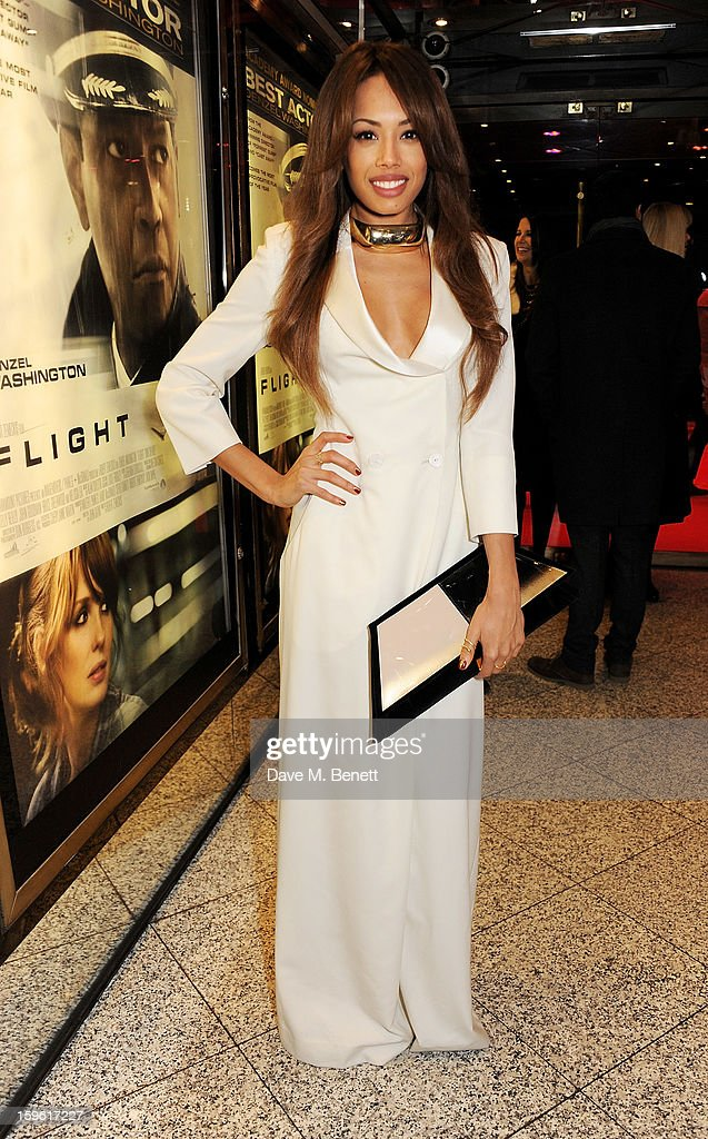 Singer Jade Ewen attends the UK Premiere of 'Flight' at the the Empire Leicester Square on January 17, 2013 in London, England.
