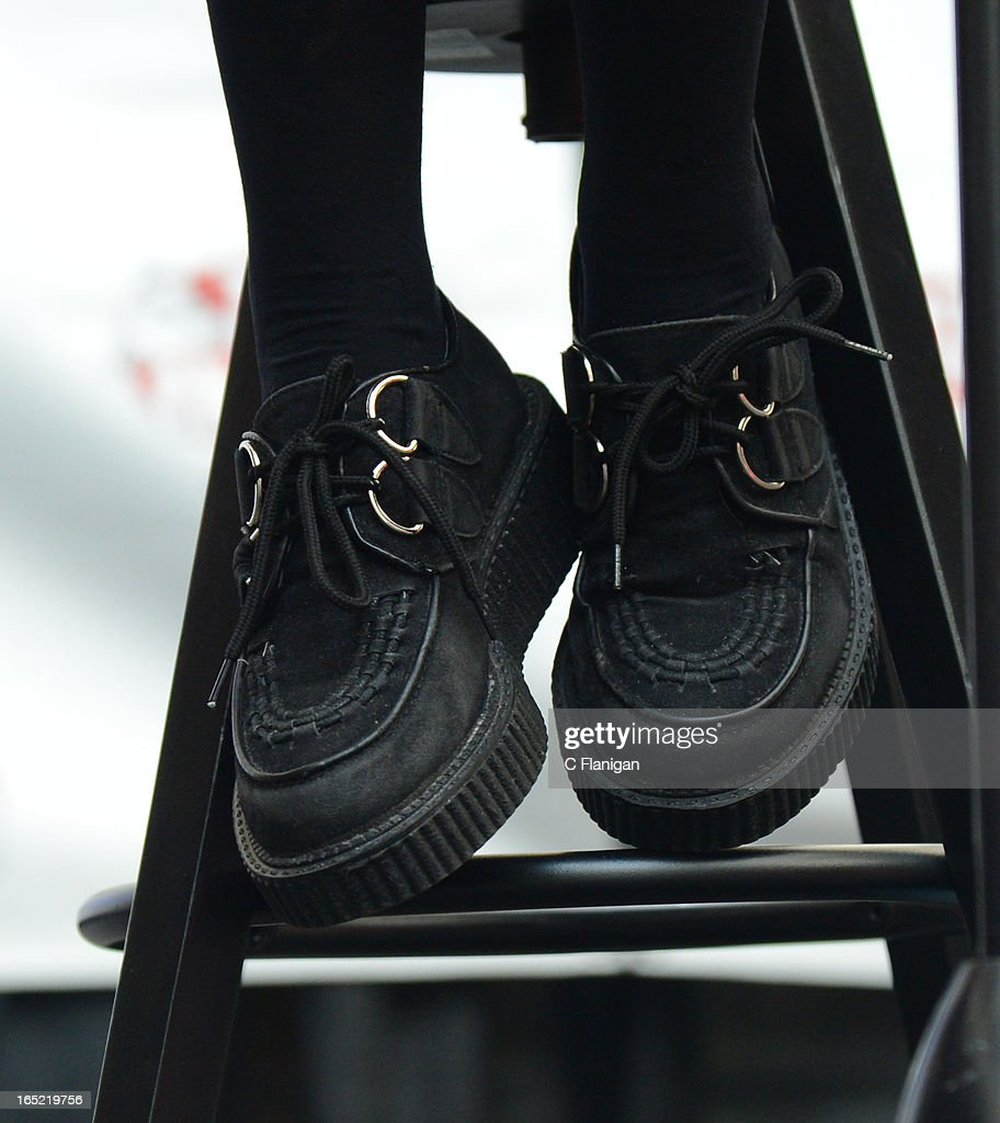 Singer Jade Thirlwall of Little Mix (Shoe Detail) performs at the Arden Center on April 1, 2013 in Sacramento, California.