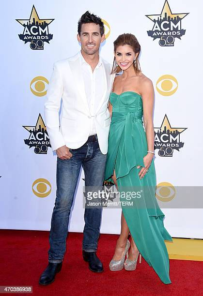 Singer Jake Owen and Lacey Buchanan attend the 50th Academy of Country Music Awards at ATT Stadium on April 19 2015 in Arlington Texas