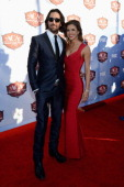 Singer Jake Owen and wife Lacey Buchanan arrive at the American Country Awards 2013 at the Mandalay Bay Events Center on December 10 2013 in Las...