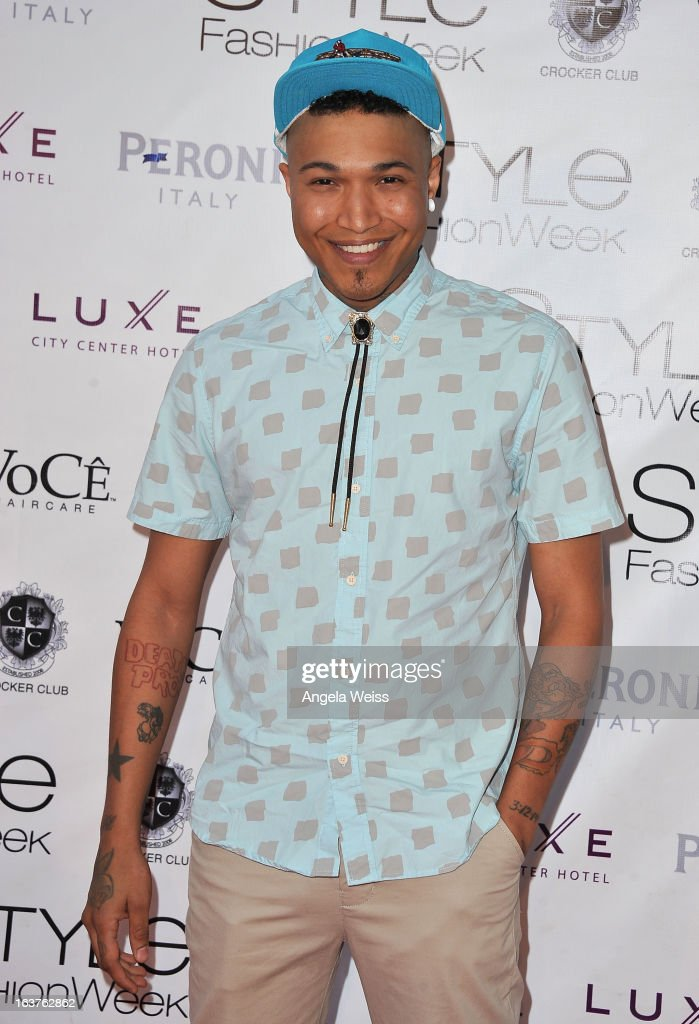 Singer Jamar Rogers arrives at the Madisonpark Collective 2013 fashion show as part of Los Angeles Fashion Week at Vibiana on March 14, 2013 in Los Angeles, California.