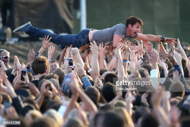 Singer James Blunt crowd surfs at the Invictus Games Closing Ceremony during the Invictus Games at Queen Elizabeth park on September 14 2014 in...