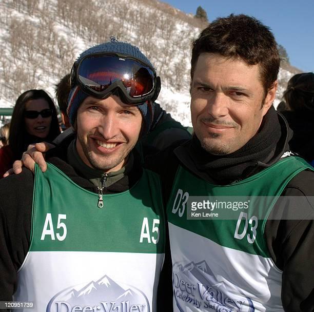 Singer James Blunt left is joined by Carlos Bernard right after Blunt defeated Bernard at the Deer Valley Celebrity Skifest at Deer Valley Resort in...