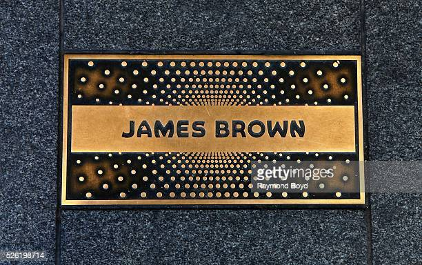 Singer James Brown is honored on the Apollo 'Walk of Fame' outside the Apollo Theater in Harlem New York on April 16 2016