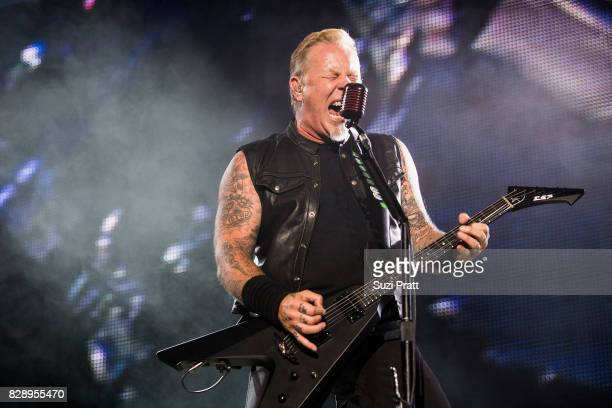 Singer James Hetfield of Metallica performs at CenturyLink Field on August 9 2017 in Seattle Washington