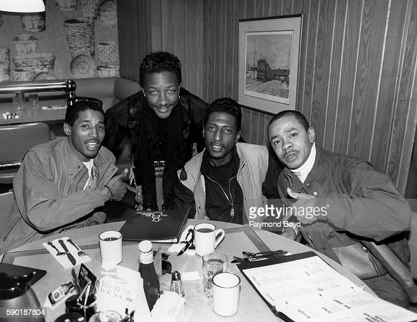 Singer James 'JT' Taylor formerly of Kool and The Gang poses for photos with Kevon Edmonds Melvin Edmonds and Keith Mitchell from After Seven at Army...
