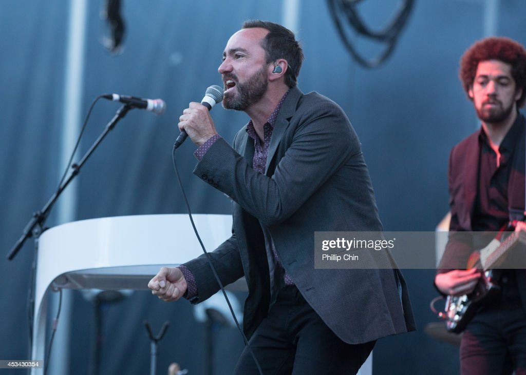 Singer James Mercer and keyboardist Brian Burton of Broken Bells perform at the Squamish Valley Music Festival on August 9, 2014 in Squamish, Canada.