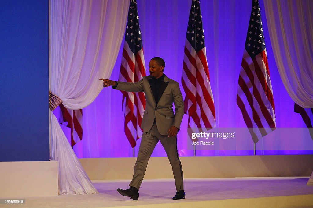Singer Jamie Foxx arrives to perform during the Commander-In-Chief's Inaugural Ball January 21, 2013 in Washington, DC. President Barack Obama is scheduled to show up at the ball after being sworn in today for his second term in a public ceremonial swearing in.
