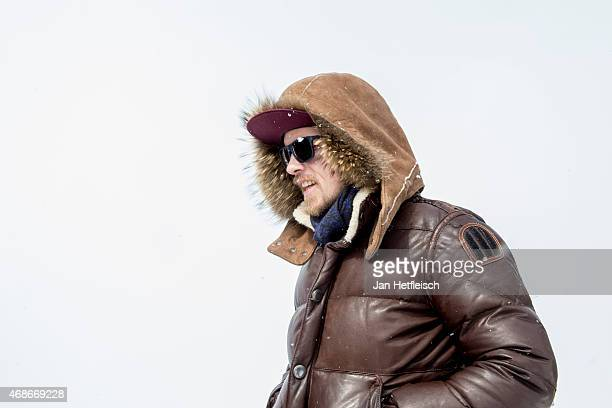 Singer Jan Delay leaves the press conference of the Top of the Mountain Easter Concert on April 5 2015 in Ischgl Austria
