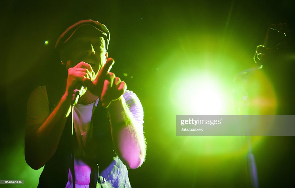 Singer Jan Plewka of the German band Selig performs live during a concert at the Columbia Halle on March 22, 2013 in Berlin, Germany.