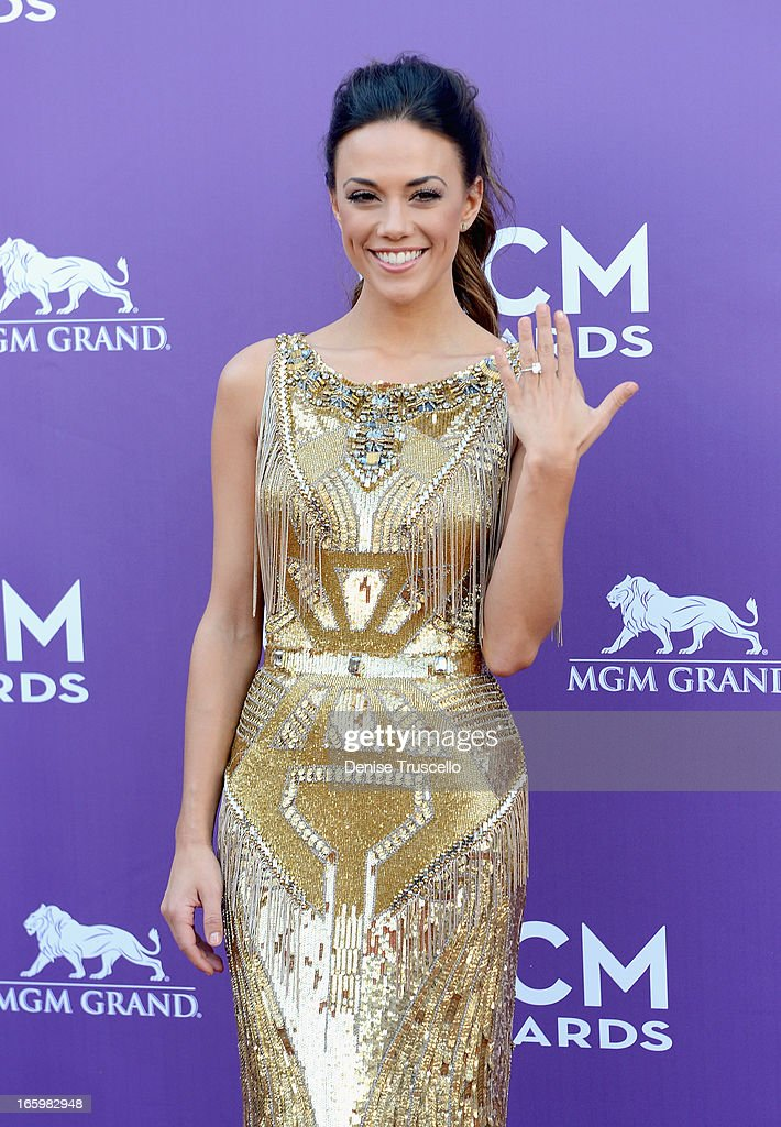 Singer Jana Kramer arrives at the 48th Annual Academy of Country Music Awards at the MGM Grand Garden Arena on April 7, 2013 in Las Vegas, Nevada.