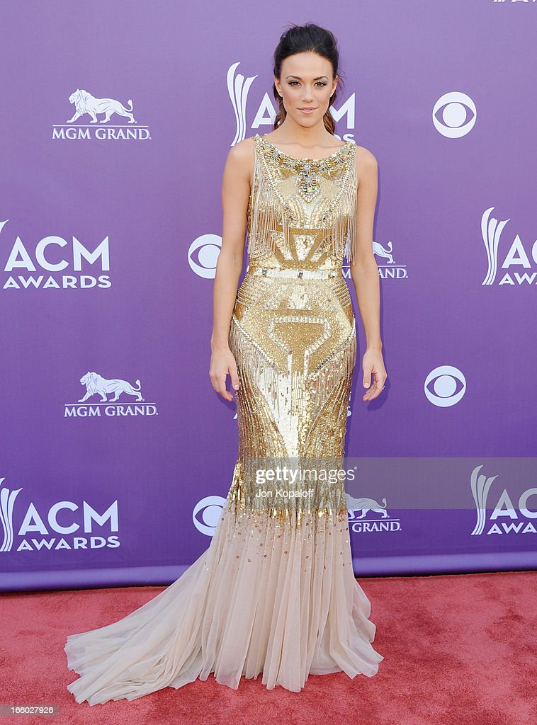 Singer Jana Kramer arrives at the 48th Annual Academy Of Country Music Awards at MGM Grand Garden Arena on April 7, 2013 in Las Vegas, Nevada.