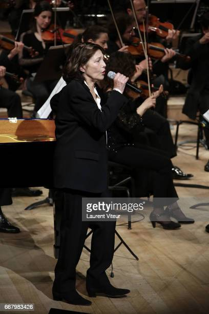 Singer Jane Birkin performs Serge Gainsbourg Songs with the Philharmonic Orchestra of Radio France at Maison de la Radio on April 12 2017 in Paris...