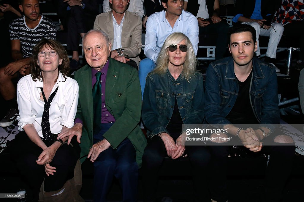 Singer Jane Birkin, Pierre Berge, Betty Catroux and Jean-Victor Meyers attend the Saint Laurent Menswear Spring/Summer 2016 show as part of Paris Fashion Week on June 28, 2015 in Paris, France.