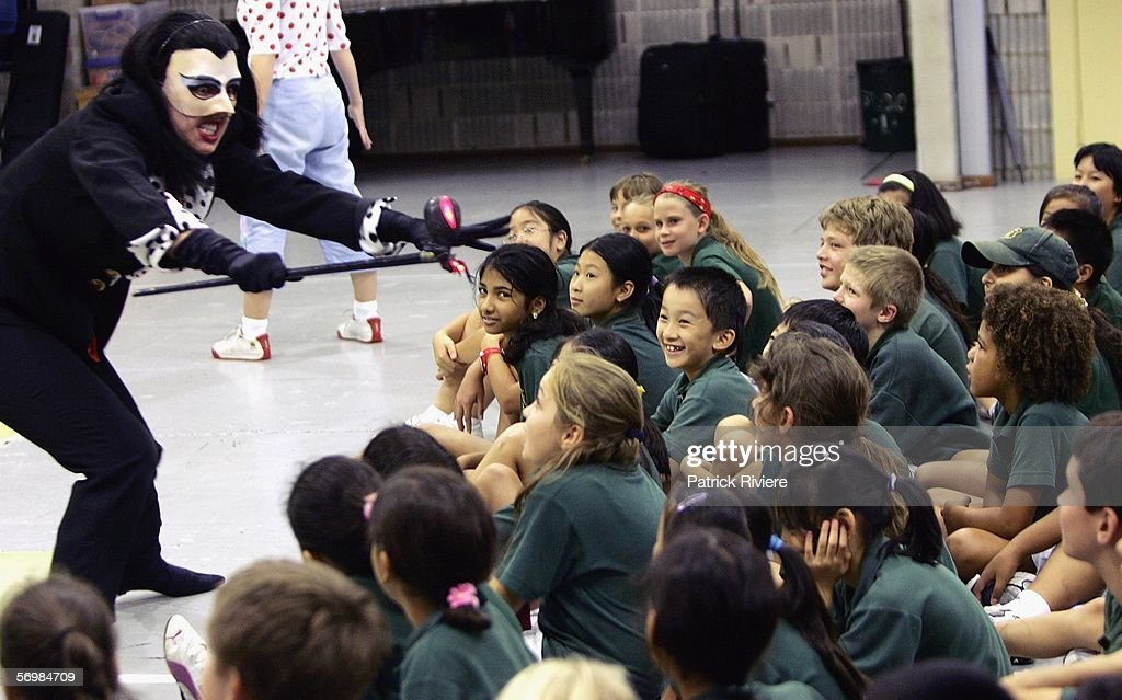 Singer Jane Parkin playing the role of a Witch performs in front of the Crown Street Primary school children during the OzOpera tour launch for Humperdinck's 'Hansel and Gretel' at The Opera Centre on March 3, 2006 in Sydney, Australia. Thousands of primary school children will see opera for the first time when Opera Australia's OzOpera heads off to perform its highly popular 50-minute version of Humperdinck's opera Hansel and Gretel in primary schools all over New South Wales.