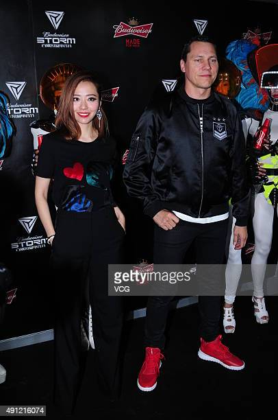 Singer Jane Zhang and DJ Tiesto during the Budweiser STORM Electronic Music Festival 2015 on October 3 2015 in Shanghai China