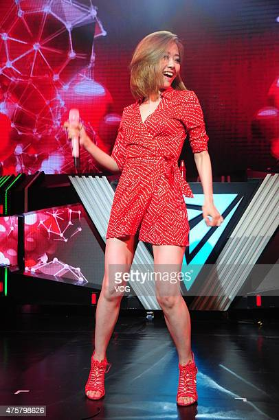 Singer Jane Zhang attends the press conference of 2015 Shanghai Storm Festival on June 3 2015 in Shanghai China