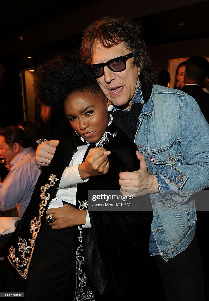 Singer Janelle Monae and photographer Mick Rock pose at W Hotels' Symmetry Live featuring Janelle Monae at W Hollywood on May 25, 2010 in Hollywood, California.