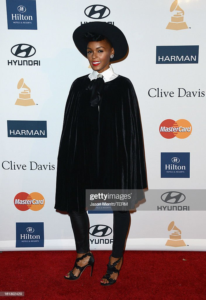 Singer Janelle Monae arrives at Clive Davis & The Recording Academy's 2013 Pre-GRAMMY Gala and Salute to Industry Icons honoring Antonio 'L.A.' Reid at The Beverly Hilton Hotel on February 9, 2013 in Beverly Hills, California.