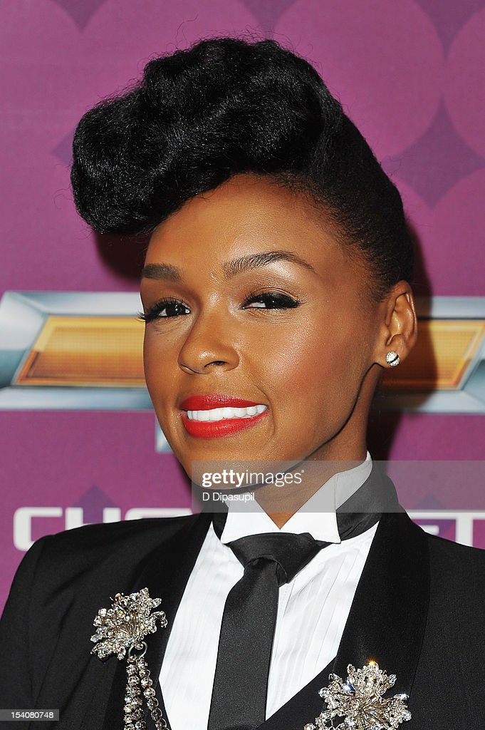 Singer <a gi-track='captionPersonalityLinkClicked' href=/galleries/search?phrase=Janelle+Monae&family=editorial&specificpeople=715847 ng-click='$event.stopPropagation()'>Janelle Monae</a> attends BET's Black Girls Rock 2012 CHEVY Red Carpet at Paradise Theater on October 13, 2012 in New York City.