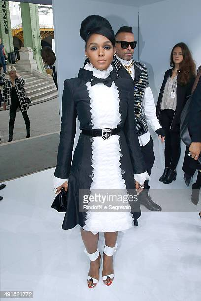 Singer Janelle Monae attends the Chanel show as part of the Paris Fashion Week Womenswear Spring/Summer 2016 Held at Grand Palais on October 6 2015...
