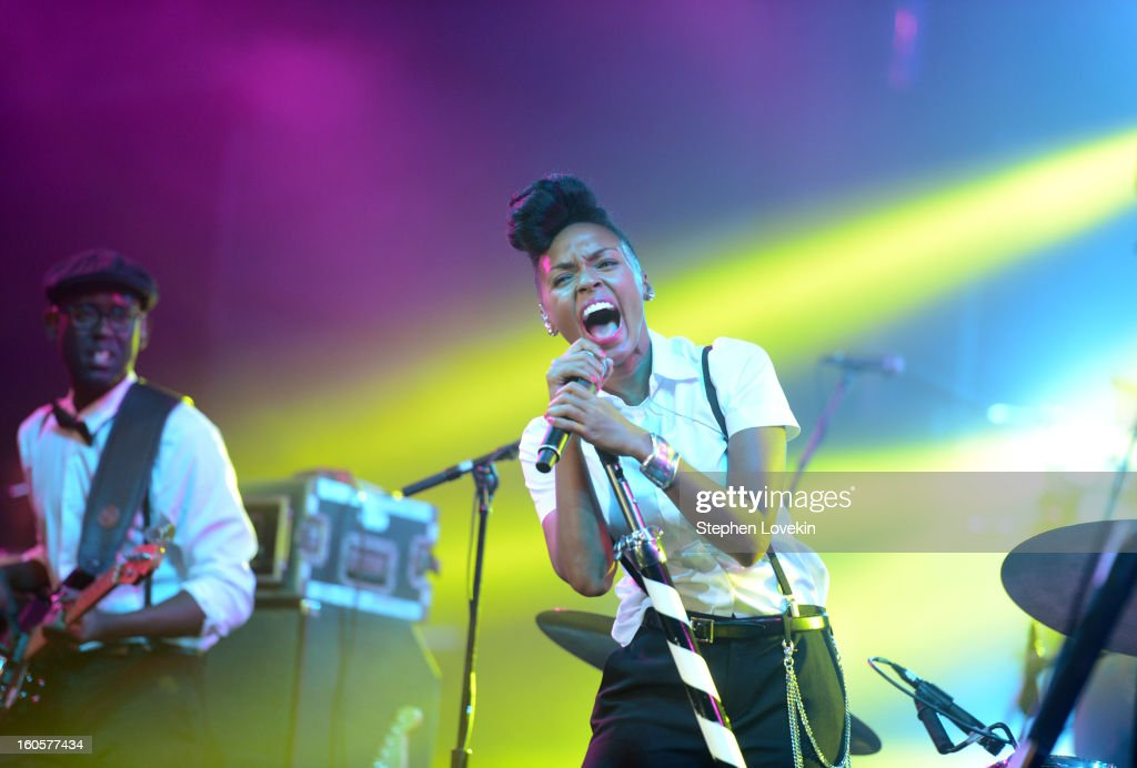 Singer Janelle Monae performs onstage at Bud Light Presents Stevie Wonder and Gary Clark Jr. at the Bud Light Hotel on February 2, 2013 in New Orleans, Louisiana.