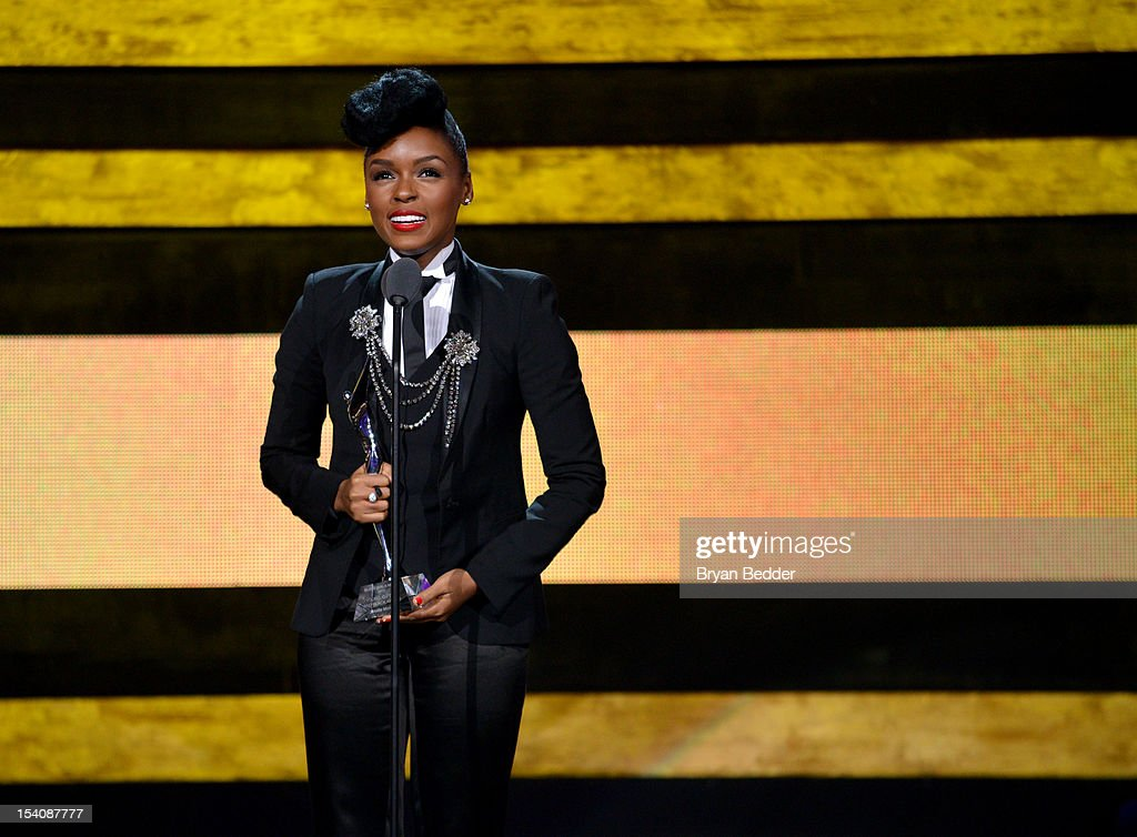 Singer <a gi-track='captionPersonalityLinkClicked' href=/galleries/search?phrase=Janelle+Monae&family=editorial&specificpeople=715847 ng-click='$event.stopPropagation()'>Janelle Monae</a> speaks onstage at BET's Black Girls Rock 2012 at Paradise Theater on October 13, 2012 in New York City.