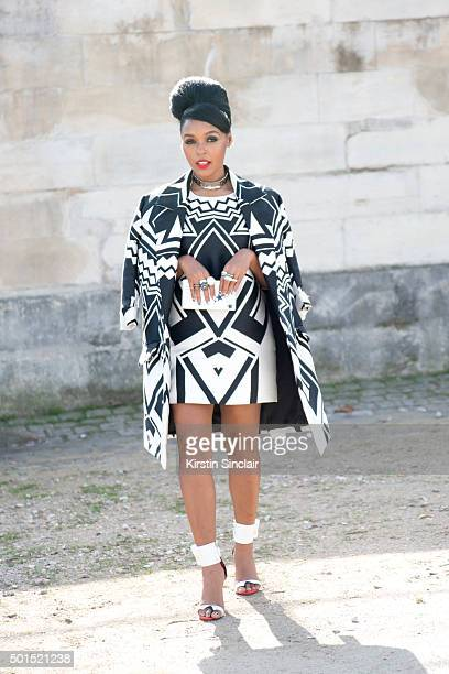 Noisettes Singer Janelle Monae wears all Valentino on day 8 during Paris Fashion Week Spring/Summer 2016/17 on October 6 2015 in Paris France Janelle...