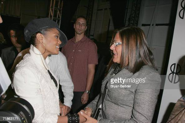 Singer Janet Jackson and Executive director of 7th on Sixth Fern Mallis talk backstage at the Bill Blass Spring 2007 fashion show during Olympus...
