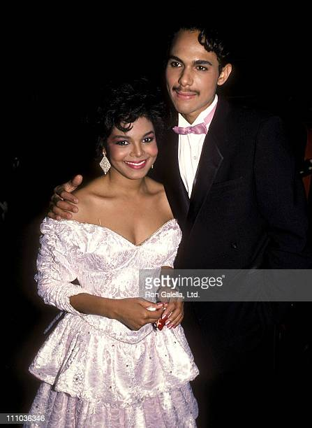 Singer Janet Jackson and husband James DeBarge attend the 12th Annual American Music Awards on January 28 1985 at Shrine Auditorium in Los Angeles...