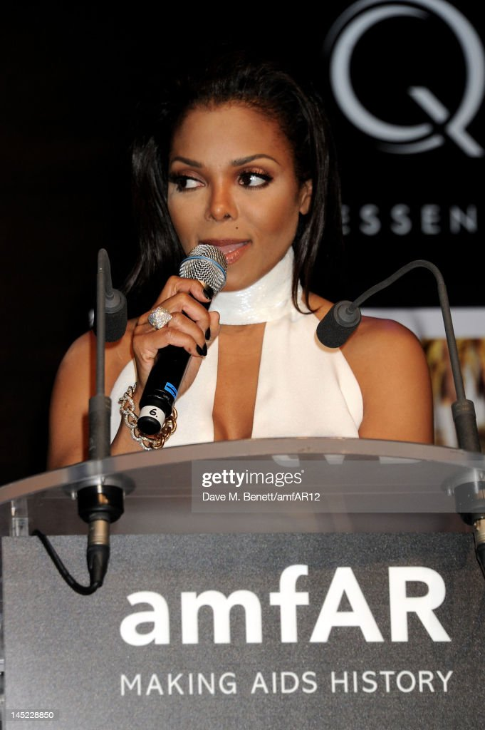 Singer <a gi-track='captionPersonalityLinkClicked' href=/galleries/search?phrase=Janet+Jackson&family=editorial&specificpeople=156414 ng-click='$event.stopPropagation()'>Janet Jackson</a> attends the 2012 amfAR's Cinema Against AIDS during the 65th Annual Cannes Film Festival at Hotel Du Cap on May 24, 2012 in Cap D'Antibes, France.