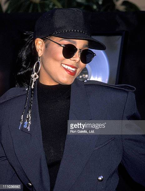 Singer Janet Jackson attends the presentation of platinum records for her album 'Janet Jackson's Rhythm Nation 1814' and two singles 'Miss You Much'...