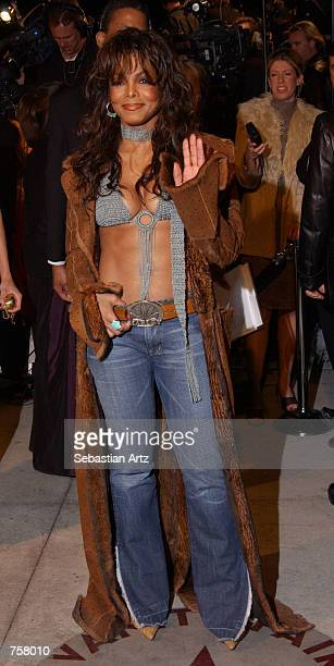 Singer Janet Jackson attends the Vanity Fair Oscar Party at Mortons March 24 2002 in West Hollywood CA