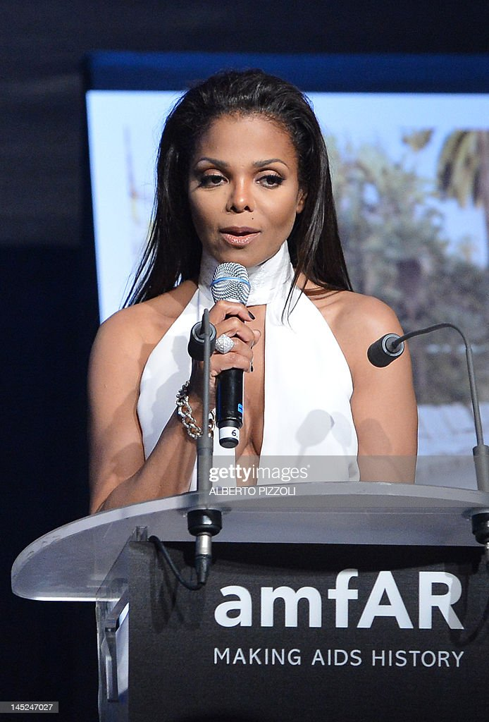 UIS singer Janet Jackson leads an auction at the 2012 amfAR's Cinema Against Aids benefit gala on May 24, 2012 in Antibes, southeastern France. AFP PHOTO / ALBERTO PIZZOLI