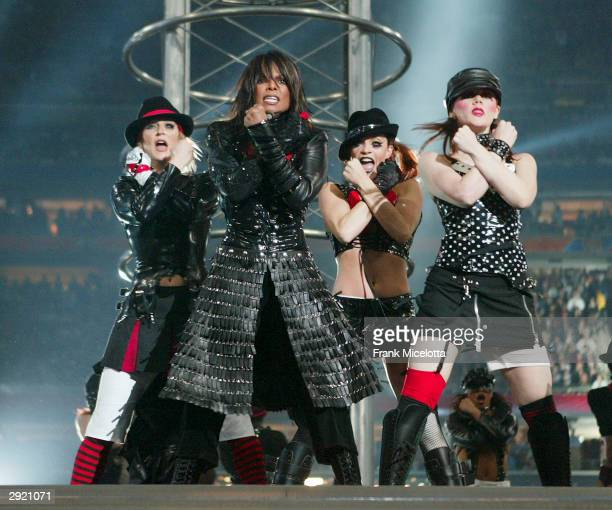 Singer Janet Jackson performs during the halftime show at Super Bowl XXXVIII between the New England Patriots and the Carolina Panthers at Reliant...