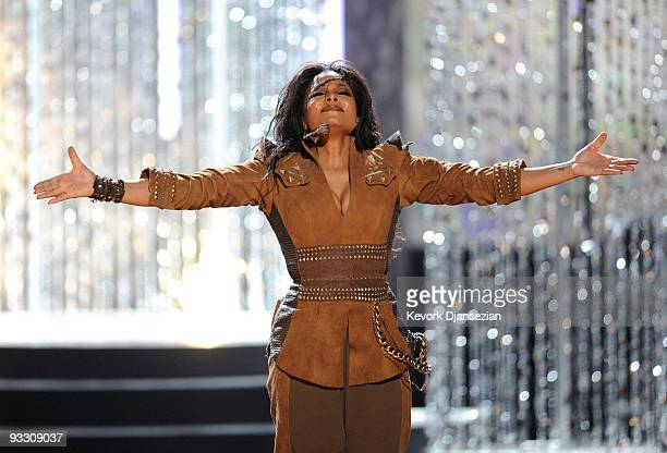 Singer Janet Jackson performs onstage at the 2009 American Music Awards at Nokia Theatre LA Live on November 22 2009 in Los Angeles California