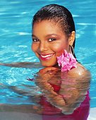 Singer Janet Jackson poses for a portrait in 1986 in Los Angeles California