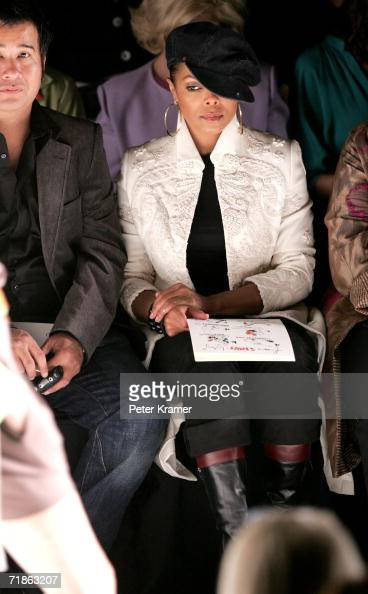 Singer Janet Jackson poses in the front row at the Bill Blass Spring 2007 fashion show during Olympus Fashion Week at the Tent in Bryant Park...