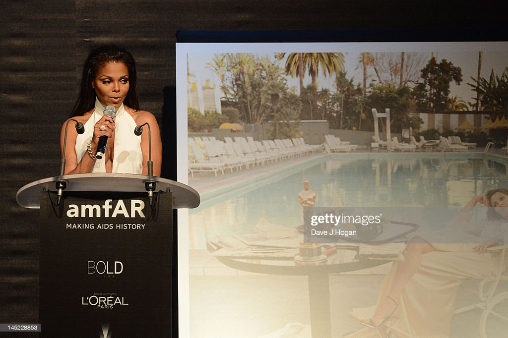 Singer Janet Jackson speaks onstage during the 2012 amfAR's Cinema Against AIDS during the 65th Annual Cannes Film Festival at Hotel Du Cap on May 24, 2012 in Cap D'Antibes, France.