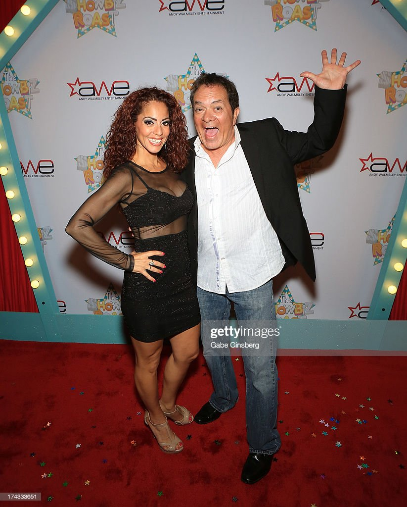 Singer Janien Valentine (L) and entertainer Joey Scinta arrive at the 'Showbiz Roast of Oscar Goodman' at the Stratosphere Casino Hotel on July 23, 2013 in Las Vegas, Nevada.