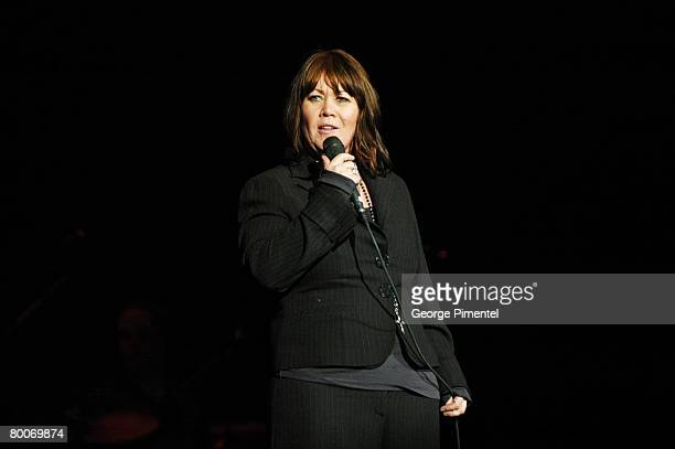 Singer Jann Arden performs at the One Night Live Concert at the Air Canada Centre on February 28 2008 in Toronto Canada