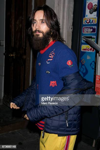 Singer Jared Leto leaves the 'C A Vous' TV studio on November 13 2017 in Paris France