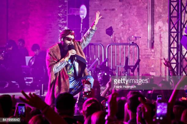 Singer Jared Leto of the American band Thirty Seconds to Mars performs live on stage during the 360 degree HD live stream concert as part of the...