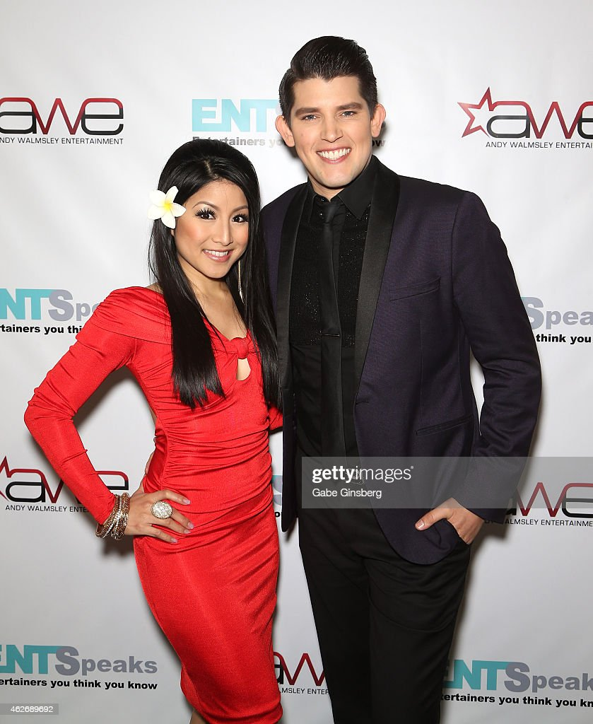 Singer Jasmine Trias (L) and magician and singer/songwriter Ben Stone arrive at ENTSpeaks at the Inspire Theatre on February 2, 2015 in Las Vegas, Nevada.